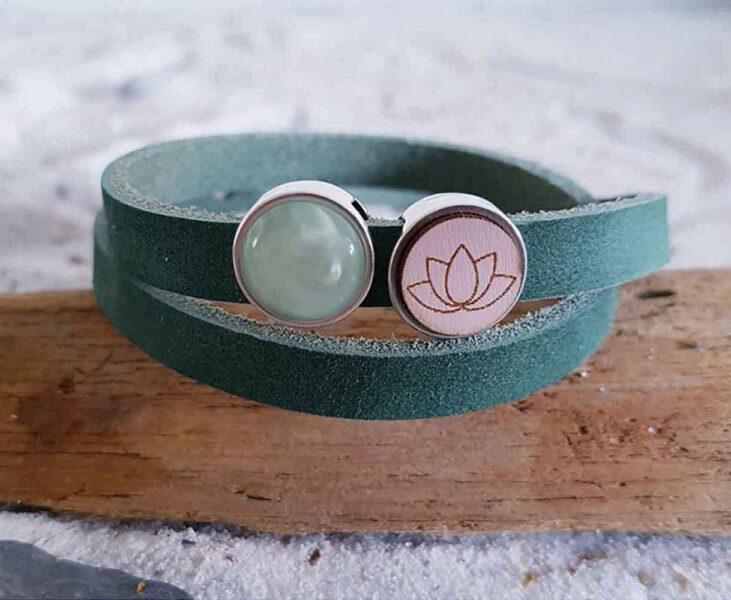 Bracelet Bohème Fleur de Lotus En Cuir Vert