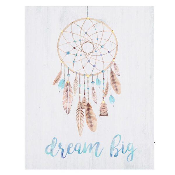 Toile avec éclairage LED - attrape-rêves 'Dream Big' - Shop Spirituel