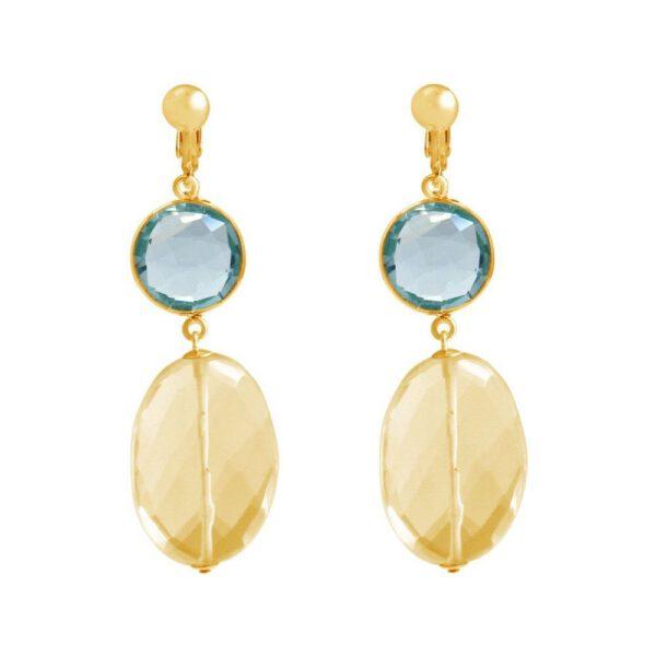 Boucles d'oreilles clips  -  pierres précieuses aigue-marine et citrine - Shop Spirituel