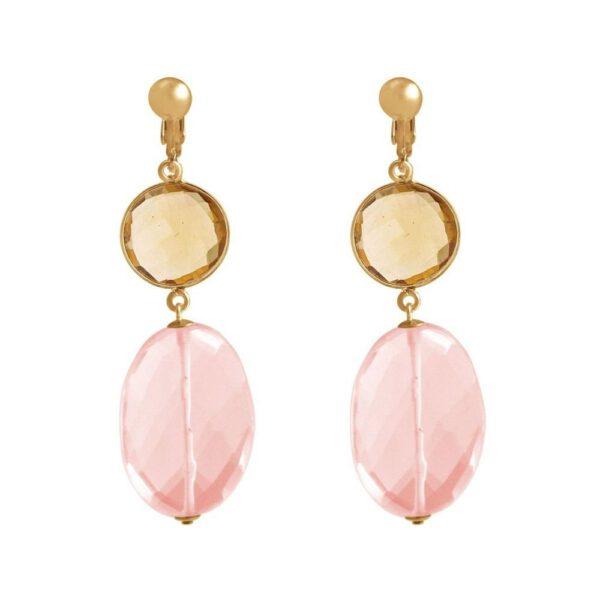 Boucles d'oreilles clips  -  pierres précieuses de quartz rose et de citrine Shop Spirituel