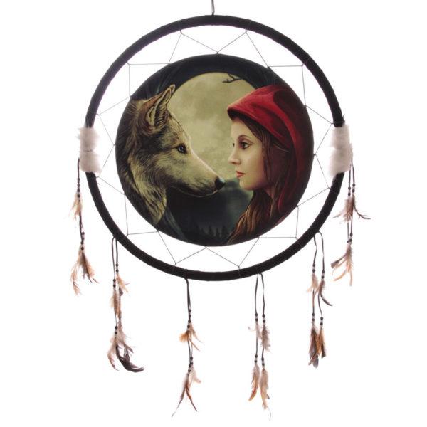 Attrape-rêves - Lisa Parker loup et femme - 60 cm - Shop Spirituel
