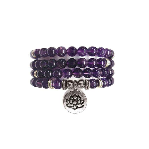 Bracelet Mala de pierres précieuses Perles d'Améthyste Shop Spirituel