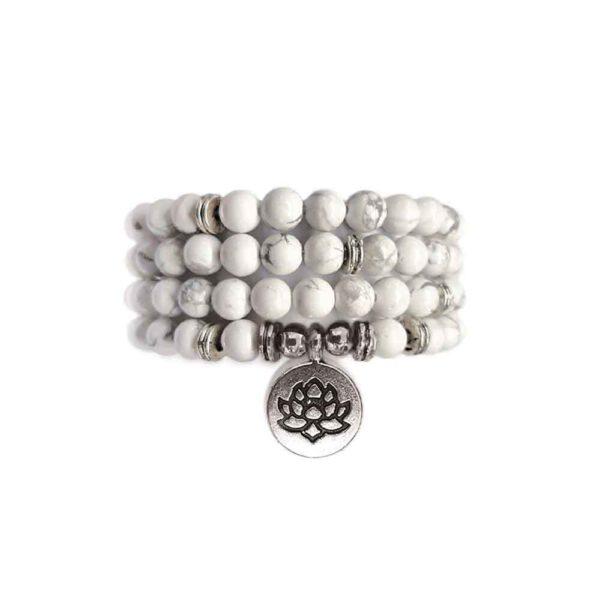 Bracelet Mala de pierres précieuses Perles blanches de Howlite Shop Spirituel