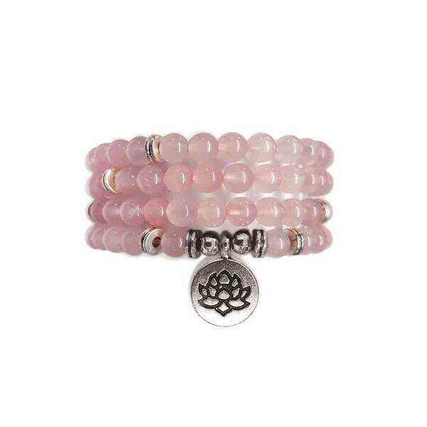 Bracelet Mala de pierres précieuses Perles Quartz Rose Shop Spirituel