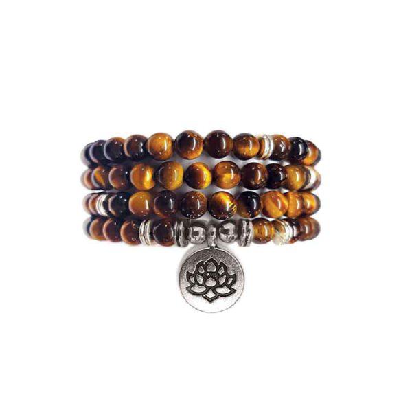 Bracelet Mala de pierres précieuses Perles d'oeil de tigre Shop Spirituel