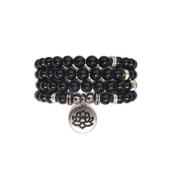 Bracelet Mala de pierres précieuses Perles Onyx Shop Spirituel