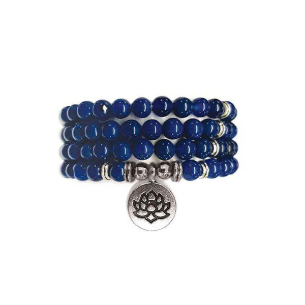 Bracelet Mala de pierres précieuses Perles d'Agate Bleue Shop Spirituel