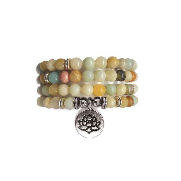 Bracelet Mala de pierres précieuses Perles d'amazonite Shop Spirituel