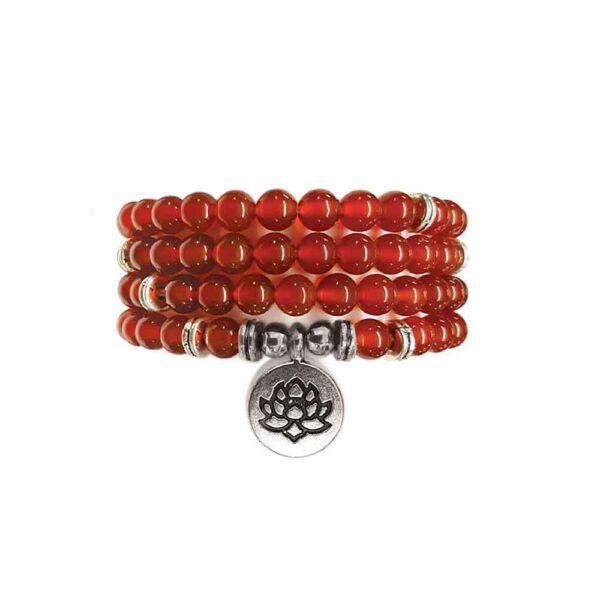 Bracelet Mala de pierres précieuses Perles de Cornaline Shop Spirituel