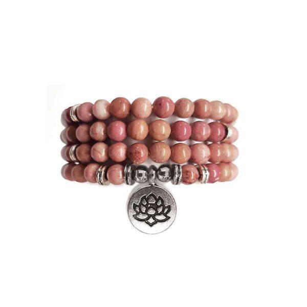 Bracelet Mala de pierres précieuses Perles de Rhodonite Shop Spirituel