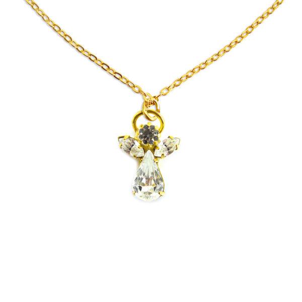 Collier ange en cristal avril pierre precieuse Cristal de roche Shop Spirituel