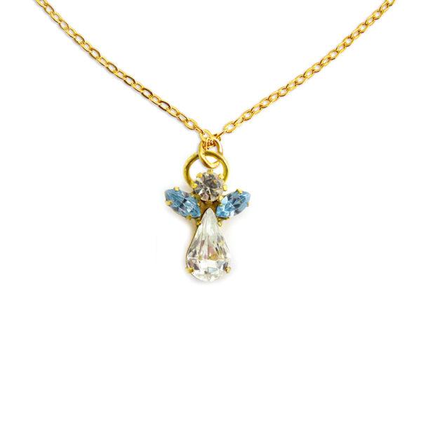 Collier d'ange en cristal decembre pierre precieuse Zircon Bleu Shop Spirituel