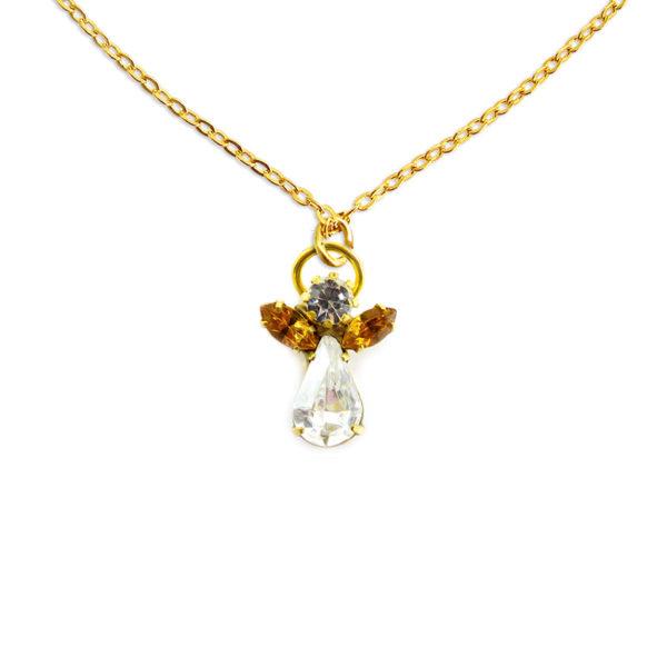 Collier ange en cristal novembre pierre precieuse Topaze Shop Spirituel