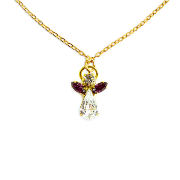 Collier ange en cristal juillet pierre precieuse Rubis Shop Spirituel