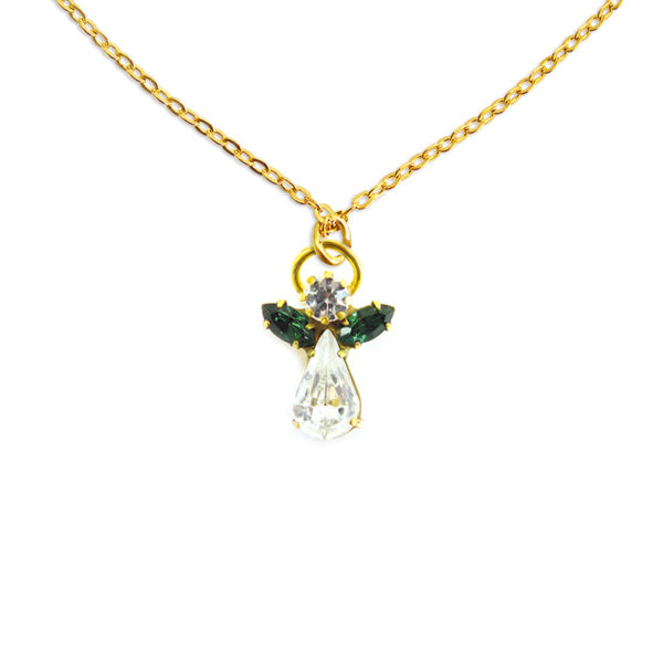 Collier d'ange en cristal mai pierre precieuse Emeraude Shop Spirituel
