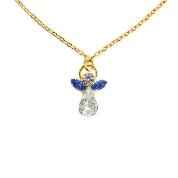 Collier d'ange en cristal septembre pierre precieuse Saphir Shop Spirituel
