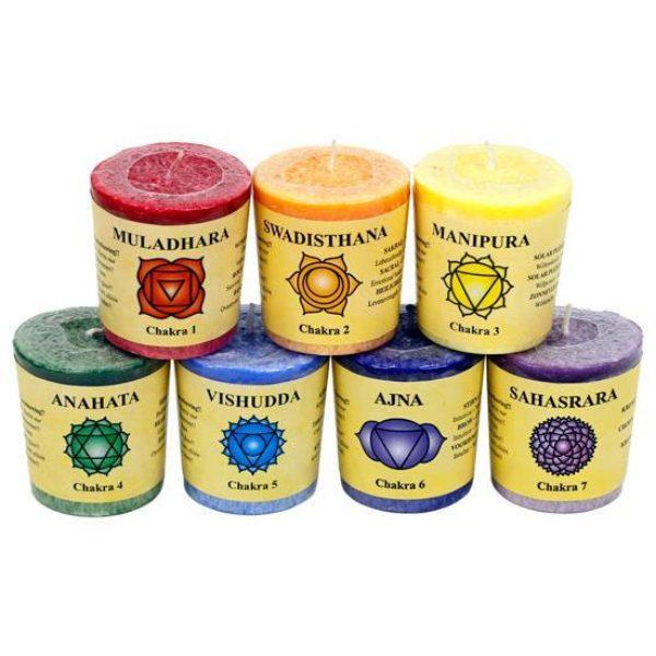 Coffret cadeau bougies votives parfumées - 7 chakras