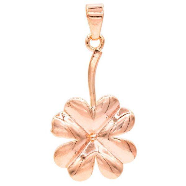 Pendentif trèfle à quatre feuilles - couleur or rose - Shop Spirituel