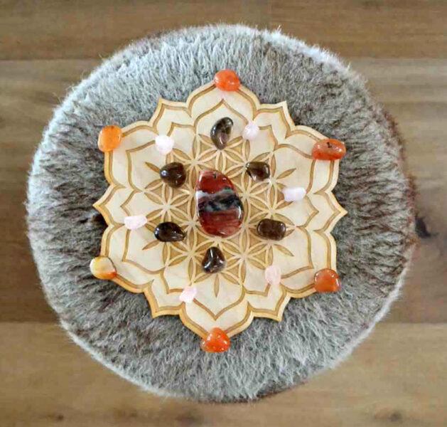 Grille de cristaux Lotus Fleur de Vie - bonheur - Shop Spirtuel
