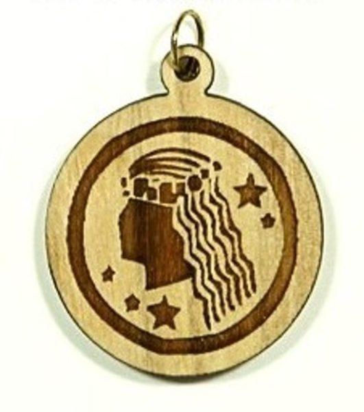 Pendentif bois d'olivier - Vierge - signe horoscope - Shop Spirituel