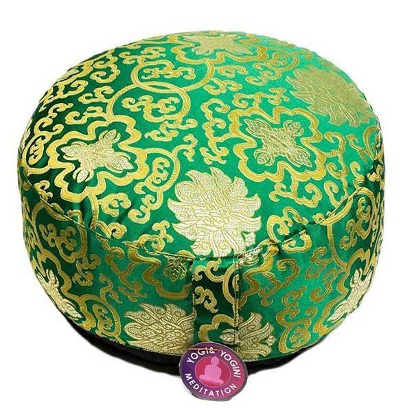 Coussin de méditation: fleur de lotus vert/or Shop Spirituel Web
