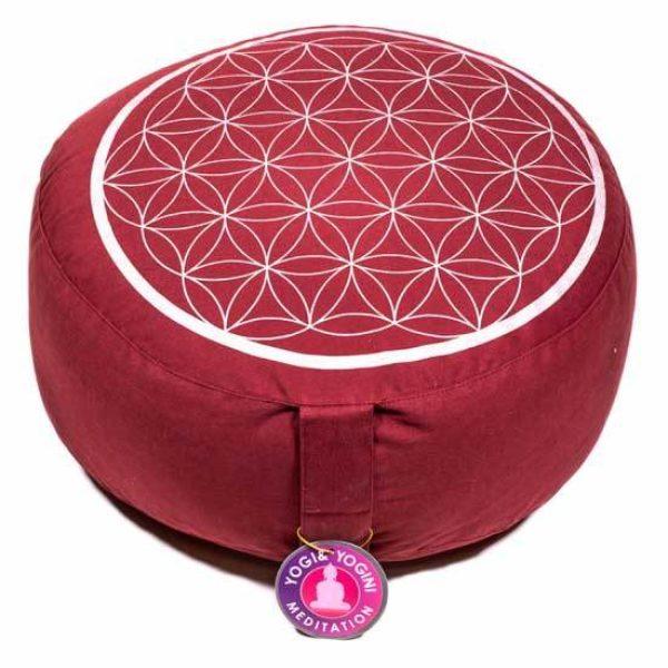 Meditatiekussen rood zilver levensbloem Bloom web