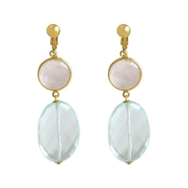 Boucles d'oreilles clips  - pierres précieuses de quartz rose et d'aigue-marine - Shop Spirituel