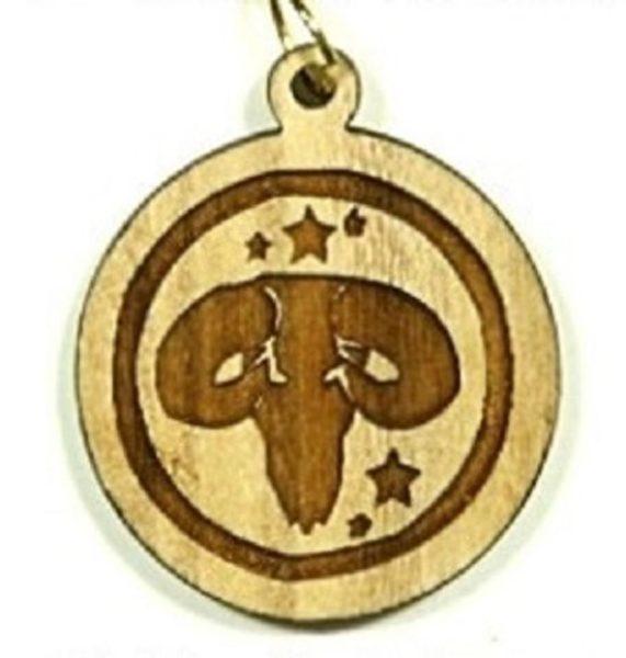 Pendentif bois d'olivier - signe astrologie bélier - Shop Spirituel
