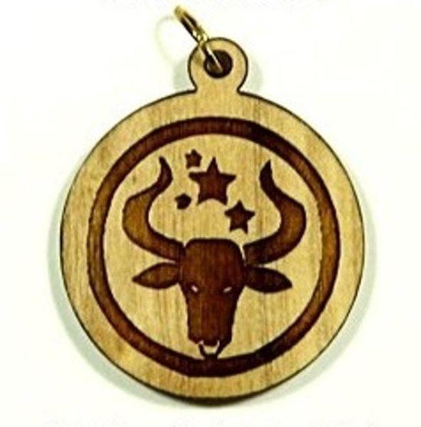 Pendentif bois d'olivier - Taureau - Shop Spirituel