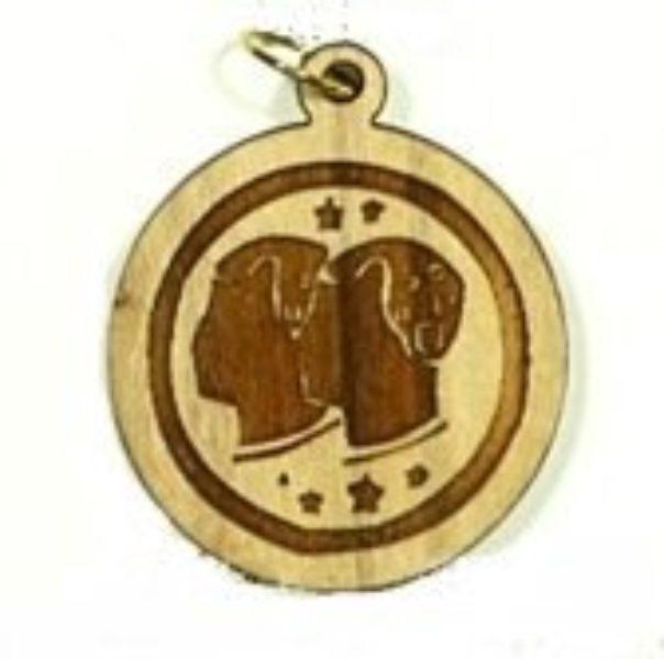 Pendentif bois d'olivier - Gémeaux - Shop Spirituel
