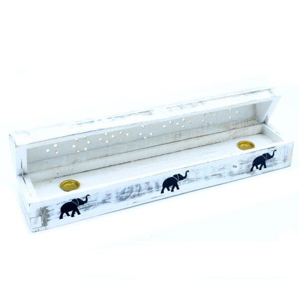 Boîte porte encens blanche - éléphants - Shop Spirituel
