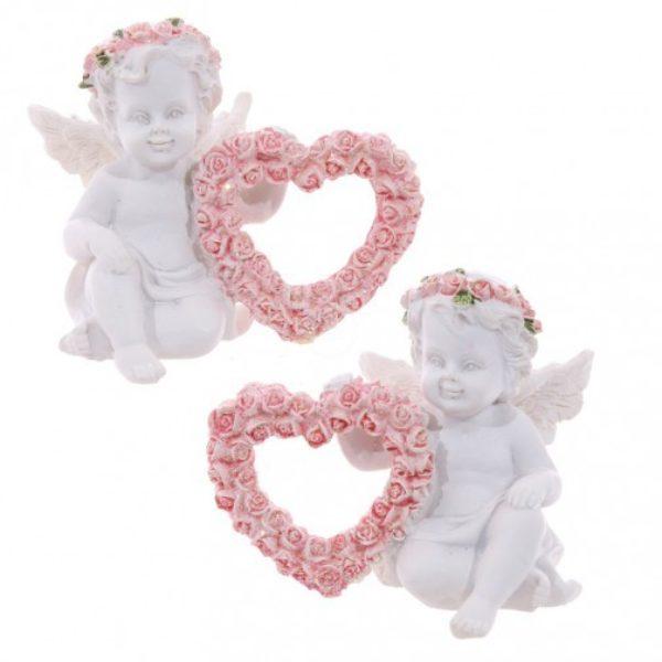 Cherubin Ange coeur roze Duo - pour votre décoration de maison - Shop Spirituel Web