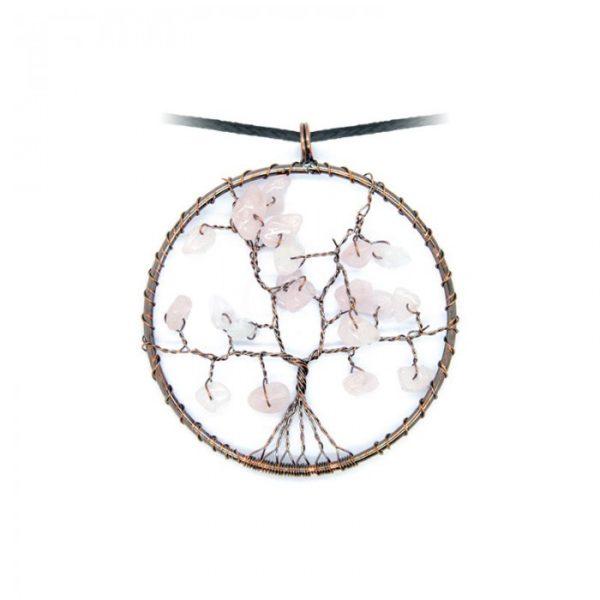 Collier arbre de vie Quartz Rose Shop Spirituel
