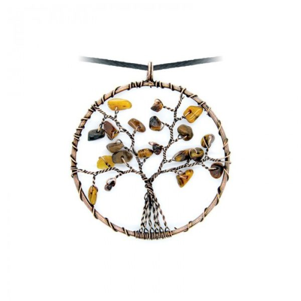 Collier arbre de vie en Oeil-de-tigre Shop Spirituel