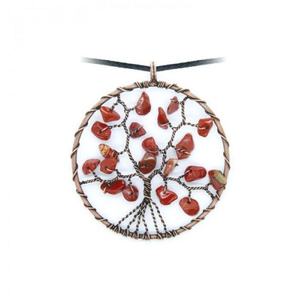 Collier arbre de vie Jaspe Rouge Shop Spirituel