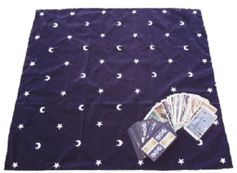 Tapis de Tarot - Tapis Cartomancie en velours - Lune et étoiles