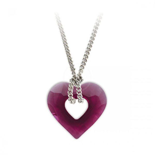 Collier Coeur Cristal - violet - Shop Spirituel